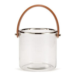 Zodax - Equestrian Ice Bucket - Perfect for summer or holiday parties! Glass bucket with chrome rimmed detail and cognac leather handle.