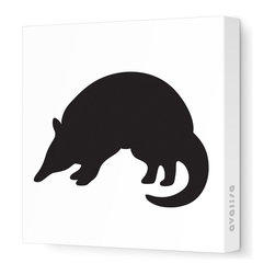 """Avalisa - Silhouette - Armadillo Stretched Wall Art, 28"""" x 28"""", Black - Take a walk on the wild side with this adorable Armadillo silhouette. """"Armadillo"""" means """"little armored one"""" in Spanish, and this stretched canvas wall art gets rave reviews for a little one's bedroom or playroom."""