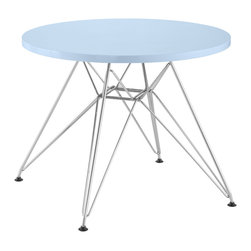 Zuo - Wacky Kid Table, Blue - The Wacky kid table is lightweight and durable and welcomes creativity.  Pair this table with any of the baby chairs available and you have the perfect kid setting in any space.  Has an MDF top and a chrome base and is available in many bright colors.
