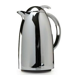 Epoca - Thermal Carafe 34 Oz. Chrome - This contemporary styled one liter Thermal Carafe from the Epoca Premium Collection has a mirror chrome finish and glass lining. It provides twice the insulation, keeping your beverages hot or cold for hours. The spill-proof top with trigger action provides for easy one-hand operation. This carafe is perfect for travel, home, or office use.