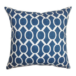 The Pillow Collection - Raziya Geometric Pillow Navy Blue - Transform your living space into a sanctuary by adding this fluffy accent pillow. This square pillow showcases a unique geometric pattern which lends texture to your interiors. The navy blue and white color palette is soothing to the eyes. Pair with matching patterns or contrasting colors for a fun decor style. Made of 100% soft and cozy cotton fabric. Hidden zipper closure for easy cover removal.  Knife edge finish on all four sides.  Reversible pillow with the same fabric on the back side.  Spot cleaning suggested.