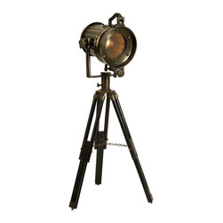 iMax - iMax Lawson Tripod Tabletop Lamp X-49006 - Like a witty character from a fictional novel, the Lawson tripod tabletop lamp has a distinctive charm all it's own. With a soft amber glow, this lamp would be perfect for a gentleman's study or eclectic display.
