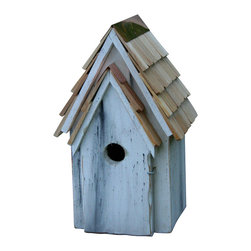 Heartwood - Bluebird Manor Cypress Wood Birdhouse Antique White - The  Bluebird  Manor  Birdhouse  is  constructed  from  solid  cypress  wood  and  includes  a  handemade  roof  featuring  stone-washed  shingles.  The  rustic  wood  body  of  the  birdhouse  is  painted  antique  white.  Perfect  for  your  garden  or  even  as  decor  inside  of  your  home,  this  whimsical  bird  house  has  solid  copper  trim  with  an  easy-access  door  that  hinges  open  so  that  you  can  clean  it  easily,  or  even  view  the  inhabitants.  Great  ventilation,  and  designed  for  drainage,  this  model  includes  a  paddle  so  you  can  hang  it  from  almost  any  surface.          Product  Details:                  8  8  x  16              1.5  inch  hole              available  in  several  colors              Handcrafted  in  USA  from  renewable,  FSC  certified  Cypress  wood