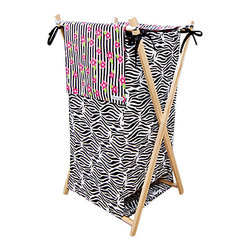 Trend Lab - Trend Lab Zahara Crib Bedding Set - Hamper - The Zahara Hamper by Trend Lab is a decorative solution for quick clean up. The cotton percale zebra print body and stripe and floral print outer flap easily attaches to the collapsible pine wood frame. The fashionable color palette of black white paradise pink and electric lime make this hamper suitable for any room of the house. Machine washable inner mesh liner is removable making the transport of laundry effortless. Assembled hamper measures 27 x 15 x 15. This hamper coordinates with the Zahara collection.