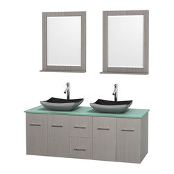 Wyndham Collection - 60 in. Double Bathroom Vanity in Gray Oak, Green Glass Countertop, Altair Black - Simplicity and elegance combine in the perfect lines of the Centra vanity by the Wyndham Collection . If cutting-edge contemporary design is your style then the Centra vanity is for you - modern, chic and built to last a lifetime. Available with green glass, pure white man-made stone, ivory marble or white carrera marble counters, with stunning vessel or undermount sink(s) and matching mirror(s). Featuring soft close door hinges, drawer glides, and meticulously finished with brushed chrome hardware. The attention to detail on this beautiful vanity is second to none.