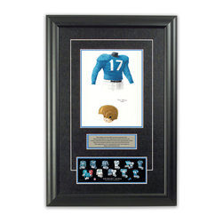 "Heritage Sports Art - Original art of the NFL 1952 Detroit Lions uniform - This beautifully framed piece features an original piece of watercolor artwork glass-framed in an attractive two inch wide black resin frame with a double mat. The outer dimensions of the framed piece are approximately 17"" wide x 24.5"" high, although the exact size will vary according to the size of the original piece of art. At the core of the framed piece is the actual piece of original artwork as painted by the artist on textured 100% rag, water-marked watercolor paper. In many cases the original artwork has handwritten notes in pencil from the artist. Simply put, this is beautiful, one-of-a-kind artwork. The outer mat is a rich textured black acid-free mat with a decorative inset white v-groove, while the inner mat is a complimentary colored acid-free mat reflecting one of the team's primary colors. The image of this framed piece shows the mat color that we use (Light Blue). Beneath the artwork is a silver plate with black text describing the original artwork. The text for this piece will read: This original, one-of-a-kind watercolor painting of the 1952 Detroit Lions uniform is the original artwork that was used in the creation of this Detroit Lions uniform evolution print and tens of thousands of other Detroit Lions products that have been sold across North America. This original piece of art was painted by artist Tino Paolini for Maple Leaf Productions Ltd.  1952 was a NFL Championship winning season for the Detroit Lions. Beneath the silver plate is a 3"" x 9"" reproduction of a well known, best-selling print that celebrates the history of the team. The print beautifully illustrates the chronological evolution of the team's uniform and shows you how the original art was used in the creation of this print. If you look closely, you will see that the print features the actual artwork being offered for sale. The piece is framed with an extremely high quality framing glass. We have used this glass style for many years with excellent results. We package every piece very carefully in a double layer of bubble wrap and a rigid double-wall cardboard package to avoid breakage at any point during the shipping process, but if damage does occur, we will gladly repair, replace or refund. Please note that all of our products come with a 90 day 100% satisfaction guarantee. Each framed piece also comes with a two page letter signed by Scott Sillcox describing the history behind the art. If there was an extra-special story about your piece of art, that story will be included in the letter. When you receive your framed piece, you should find the letter lightly attached to the front of the framed piece. If you have any questions, at any time, about the actual artwork or about any of the artist's handwritten notes on the artwork, I would love to tell you about them. After placing your order, please click the ""Contact Seller"" button to message me and I will tell you everything I can about your original piece of art. The artists and I spent well over ten years of our lives creating these pieces of original artwork, and in many cases there are stories I can tell you about your actual piece of artwork that might add an extra element of interest in your one-of-a-kind purchase."