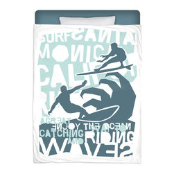 """Eco Friendly Made In USA """"Surfing California"""" Surfer Bedding Twin Comforter - Surf Into Your Bed With This Premium """"Surfing California"""" Twin Size Comforter From Our Surfer Bedding Bed and Bath Collection."""