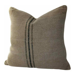 Grain Sack Pillow - Beautiful natural hemp Antique grain sack pillow. Triple black woven stripe down the center of both the front and back of the pillow.