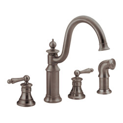 Moen - Moen S712ORB Oil Rubbed Bronze High Arc Kitchen Faucet w/ Side Spray Two Handle - The intricate charm of the Waterhill collection will instantly add character to your home. A range of products provide all the design features necessary to enrich your space.