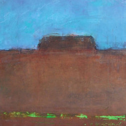 "Alone - Original Mixed Media Painting on Paper - A Southwest, abstract, minimalist landscape. The artist says of her work: ""It is not a specific time or place but an overall serene feeling of nature that I am trying to create."""
