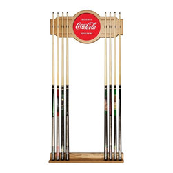 Trademark Global - Delicious Refreshing Coke Acrylic Cue Rack - Pool cues not included. Acrylic center - second surface digital print. 2 Piece medium Oak veneered wood cue rack. 10 in. Dia. full color logo mirror. 8 Cue capacity. Furniture grade look. Weight: 10 lbs.This Coca Cola Vintage Officially Licensed Wood/Mirror Wall Cue Rack will fit in the decor of your billiard room.
