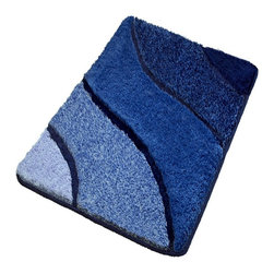 Luxury Bathroom Rugs - Blue Bath Rugs, Extra Large - Plush oversized blue bathroom rug with multi-level pile. Our extra large blue bathroom rug has a modern wave design with a range of blue tones and a non-slip / non-skid backing. Machine wash warm, dry in dryer.  Made in Germany. Perfect for your bathroom!