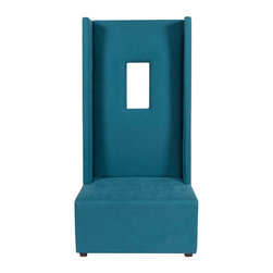"""Howard Elliott - Mojo Turquoise High Ball Chair - Our High Ball Chair is bold and contemporary! It features hand crafted faux suede upholstery and an exaggerated high back with a window cut out right in the frame! But don't let the straight back fool you, this chair is incredibly comfortable. Seat height 18"""" - Seat depth 26"""" - COM options available. Mojo Turquoise, suede-like texture in a bold turquoise blue color. 36 in. W x 30 in. D x 72 in. H"""