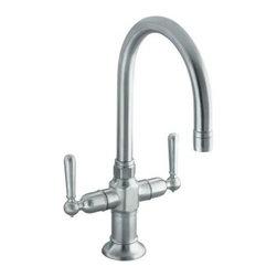 KOHLER - KOHLER K-7342-4-BS HiRise Stainless Two Handle Bar Sink Faucet - KOHLER K-7342-4-BS HiRise Stainless Two Handle Bar Sink Faucet in Brushed Stainless