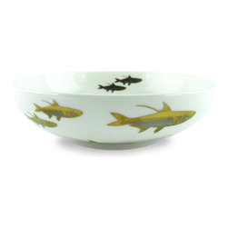 Frontgate - Caskata School of Fish Low Profile Soup Bowl - Food-safe gold and platinum. Lead-free white porcelain. Not microwave-safe. Hand wash. Sparkling platinum and gold bring an elegant seascape to your tabletop. With beautiful hand-applied detailing contrasted against white porcelain, our School of Fish Dinnerware Collection captures the metallic tones seen in sea life and underwater flora.  .  .  .  .