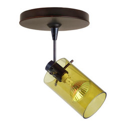 Besa Lighting - Scope Transparent Olive Bronze Spotlight with Flat Canopy - - Scope is a compact cylinder of handcrafted glass, that demonstrates contemporary sensibilities. Our Trans-Olive glass is a colored transparent blown glass. The warm green glow has a low key harmonious display that exudes a warm mood. When lit this gives off a light that is functional and soothing. This blown glass is handcrafted by a skilled artisan, utilizing century-old techniques passed down from generation to generation. The 12V spotlight fixture is equipped with a 1.5 long stem, swivel lamp holder, quick connect jack, and a low profile flat monopoint canopy. These stylish and functional luminaries are offered in a beautiful brushed Bronze finish.  - Bulbs included: Yes  - Wire length: 4.25in.  - Canopy/Fitter Height: 0.625-inches  - Canopy/Fitter Diameter/Width: 5-inches  - : NOTICE: Due to the artistic nature of art glass, each piece is uniquely beautiful and may all differ slightly if ordering in multiples. Some glass decors may have a different appearance when illuminated. Many of our glasses are handmade and will have variances in their decors. Color, patterning, air bubbles and vibrancy of the d�cor may also appear differently when the fixture is lit and unlit. Besa Lighting - 1SP-6524OL-BR