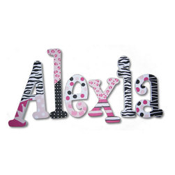RR - Alexia Funky Princess Hand Painted Wooden Hanging Wall Letters - Funky Princess Hand Painted Wooden Hanging Wall Letters