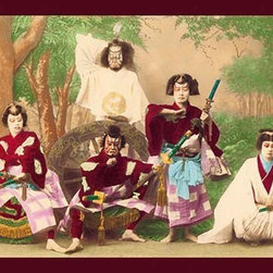 """Buyenlarge.com, Inc. - Theatrical Performance - Paper Poster 12"""" x 18"""" - Acting troupe wearing samurai costume pose in front of set design on stage"""