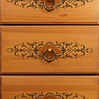 Micah Classic Panel & Furniture Stencil - Micah Classic Furniture Stencil from Royal Design Studio Stencils. This hand painted French stencil pattern is great for embellishing furniture, fabric and crafts. This classic design works in traditional,  and Old World settings.