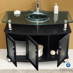 """Contento 48 Espresso Modern Bathroom Vanity With Mirror - A lovely vanity that takes a contemporary twist on baroque furniture.  Little details such as slightly octangular shaped storage, cubby hole storage underneath the counter and basin, a clear glass basin and a wide mirror really make this ensemble great for those looking to not just update their bathroom, but keep it classic.  Many faucet styles to choose from. Dimensions of Vanity:  47.25""""W x 22.13""""D x 33.75""""H. Dimensions of Mirror:  43.25""""W x 23.63""""H. Materials:  Solid Oak Wood Frame, Tempered Glass Countertop/Sink. Single Hole Faucet Mount (Faucet Shown In Picture May No Longer Be Available So Please Check Compatible Faucet List). P-trap, Faucet, Pop-Up Drain and Installation Hardware Included"""