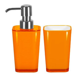 Bathroom Accessories Set - 2 Pieces - Liquid Soap Dispenser and Tumbler, Orange - Modern bathroom accessories set with liquid soap dispenser and bathroom tumbler in bright fun colors.  Plus this contemporary accessory set is made from impact resistant acrylic. As beautiful as glass plus stronger. Made in Germany. Tumbler (W) 2.75in x (H) 4.5in ; Dispenser (W) 2.75in x (H) 6.75in