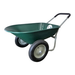 Marathon Industries - Wheelbarrow - Green, Dual Wheel - Marathon Industries Green Yard Rover Residential Wheelbarrow