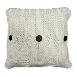Cottage Home - 'Michaela' White Knitted Throw Pillow - This beautifully constructed knitted pillow can be placed in any living area and bedroom for maximum comfort and style. Three decorative buttons on front side add a touch of character to this knitted throw pillow.