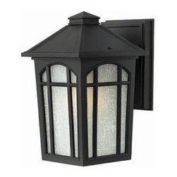 Hinkley - Cedar Hill Black SmallWall Outdoor Light Fixture - Cedar Hill is a traditional outdoor lantern in durable die cast aluminum construction with medium base lamping.  This four-sided soft taper design features linen glass behind arched window pane panels and is available in two popular finishes.  - Max Wattage - 75  - Glass - White Linen Glass  - Material - Aluminum Hinkley - 1980BK