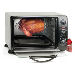 None - Multifunction Rotisserie Toaster Oven Broiler - Toast,roast,broil or bake all your favorite foods with this rotisserie toaster oven. This rotisserie toaster oven features adjustable thermostat controls,a tempered glass door,and a 24-quart capacity.