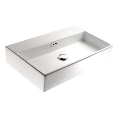 """WS Bath Collections - Quarelo 53709 Ceramic Sink 19.7"""" - Boxy can be beautiful when it comes to bathroom sinks. No matter what size your bath, you'll find this Italian-made white ceramic washbasin will fit right in. it comes in four sizes, either square or rectangular, with or without a faucet hole, and can be wall hung or set into the counter."""