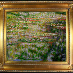 "overstockArt.com - Monet - Water Lilies Oil Painting - 20"" x 24"" Oil Painting On Canvas Easily recognizable, Water Lilies by Claude Monet has been carefully redone to near perfection with color and brush stroke detailing. The Water Lilies painting is actually a series of 250 oil paintings by Monet. They depict Monet's garden in Giverny and were the main subjects of his paintings later in his career. Monet, a French Impressionist, was born in Paris is 1840, and pursued his passion for painting from the start befriending fellow Impressionist artists. The outdoors clearly inspired Monet to take most of his subject matter from nature's beauty. His use of realistic colors and attention to detail still inspire painters today. This beautifully reproduced painting will work in many rooms in your home. Order it today and start your own collection of Monet masterpieces."