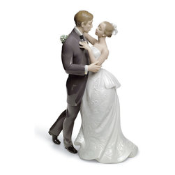 """Lladro Porcelain - Lladro Lovers' Waltz Figurine - Plus One Year Accidental Breakage Replacement - """"Hand Made In Valencia Spain - Sculpted By: Virginia Gonzalez - Included with this sculpture is replacement insurance against accidental breakage. The replacement insurance is valid for one year from the date of purchase and covers 100% of the cost to replace this sculpture (shipping not included). However once the sculpture retires or is no longer being made, the breakage coverage ends as the piece can no longer be replaced. """""""