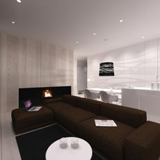 Scandinavian Style Apartment with Bright White Decoration: Brown-bed-sofa-White-