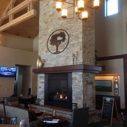 """Hyland Hills - Custom 60"""" see thru traditional gas fireplace. Provides the safety, convenience and ambience that many of these spaces want and require."""