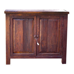 Reclaimed-Wood Vanity - This beautiful rustic vanity is handcrafted from 100% reclaimed wood from Mexico. All our rustic furniture uses a collection of old wood that is collected from old barns and corrals , which gives each piece a unique story. The vanity is finished with a hand rubbed wax. The stain is a hand made stain from Mexico. The item pictured is 48x20x32