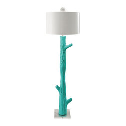 Blum Wood Bahaman Sea Blue Floor Lamp - Here is a example of fun faux bois. The vivid blue color adds a jolt to contemporary decor.