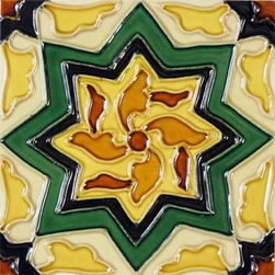 """Glass Tile Oasis - Cirino 6"""" x 6"""" Green 6"""" x 6"""" Deco Tiles Glossy Ceramic - All ceramic tiles are hand painted. Glazed thickness will vary from tile to tile, resulting in color variation. Hand-Painted Ceramic tiles will craze and crackle over time, which is intentional and a desired effect."""