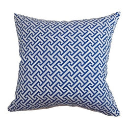 """The Pillow Collection - Quentin Pillow Blueberry 18"""" x 18"""" - The Quentin Throw Pillow features a bold geometric pattern in shades of Blueberry: white and blue. This striking square pillow is a perfect accent piece with its scene-stealing pattern. This is a great addition if you want to have a nautical-theme home design. The 18"""" pillow is made from 100% soft cotton fabric. Hidden zipper closure for easy cover removal.  Knife edge finish on all four sides.  Reversible pillow with the same fabric on the back side.  Spot cleaning suggested."""
