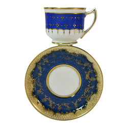 Crown Staffordshire on base of saucer - Consigned Coffee Cup and Saucer in Blue with Gold Scrolls by Crown Staffordshire - Classical nearly matched coffee cup and saucer in porcelain with gold scrolls on blue ground by Crown Staffordshire; antique English, early 1900s.