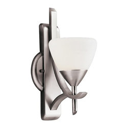 "KICHLER - KICHLER 6079AP Olympia Transitional Wall Sconce - The Olympia Collection brings a modern twist on the classic aesthetic to create a new form the likes of which has not been seen before. The Antique Pewter finish combined with Satin-etched cased opal glass diffusers present a neutral color palate capable of matching any modern décor. This handsome wall sconce brings out the best in any room. Its 1-light design employs 60-watt (max.) bulbs for superb everyday lighting. while measuring 5"" wide with a 12"" body height. The fixture can be installed with the glass up or down."
