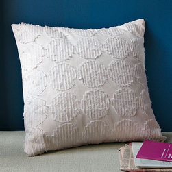 New Shredded Circles Pillow Cover - A study in subtlety. Understated circles of gauzy ivory-colored cotton voile are appliquéd onto stone-white canvas in neat, straight rows, giving the monochrome, minimalist pillow cover its textured dimension.