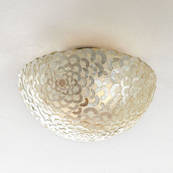 Capiz Floral Ceiling Mount Light Fixture -