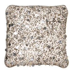 Brandi Renee Designs - Gray Tinsel with Gray and Gold Pillow - Prepare to be dazzled and wowed with this sparkly accent pillow. Whether you're looking for something glamorous or attention grabbing, it's a fabulous choice for anyone needing a little bit of glitz. The gentle polyfill insert is covered with a glistening mix of silver, black, gold, and gray beading. It's finished off with a silver twisted cord trim.