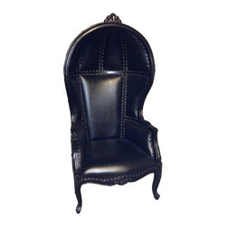 Solid Wood Canopy Chair, Black/Black - This antique production chair is made of solid mahogany wood, and carved by hand. The canopy or dome style chairs are ornately carved on the arms and the top of the chair.