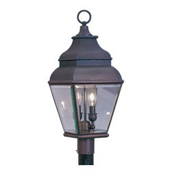 Livex Lighting - Livex Lighting 2592 2 Light 120W Post Light - 2 Light 120W Post Light with Candelabra Bulb Base and Clear Beveled Glass from Exeter SeriesProduct Features: