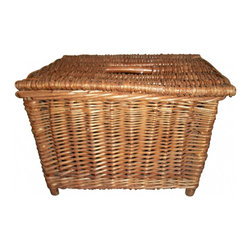 Consigned English Fish Basket - This delightful English Fish Basket, used to hold the catch of the day, is constructed of heavy and well made wicker, with a mesh strap for easy carrying.   Repurpose this basket for modern use and put toys, magazines or a small comfy throw for watching tv.