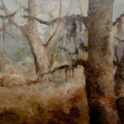 Silver Oaks (Original) By Kanayo Ede - 30in x 40in Oil on gallery wrap canvas . Trees and silver grey forest with warm golden forest floor.