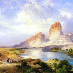 "Thomas Moran Green River, Wyoming - 16"" x 24"" Premium Archival Print - 16"" x 24"" Thomas Moran Green River, Wyoming premium archival print reproduced to meet museum quality standards. Our museum quality archival prints are produced using high-precision print technology for a more accurate reproduction printed on high quality, heavyweight matte presentation paper with fade-resistant, archival inks. Our progressive business model allows us to offer works of art to you at the best wholesale pricing, significantly less than art gallery prices, affordable to all. This line of artwork is produced with extra white border space (if you choose to have it framed, for your framer to work with to frame properly or utilize a larger mat and/or frame).  We present a comprehensive collection of exceptional art reproductions byThomas Moran."