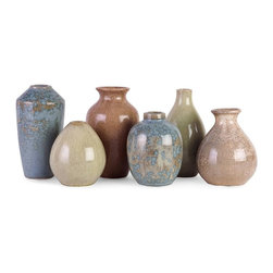 IMAX Worldwide Home - Mini Vases - Set of 6 - Set of 6. Material: 100% Ceramic. 4.25-6.25 in. H x 3.25-3.75 in. D. Weight: 4.8 lbs.Instant collection. Six exceptional ceramic vases scaled down for interest, each is a different shape and a different glaze color. With the earthy tones of blues, greens, and browns, these vases are extremely versatile in their uses.