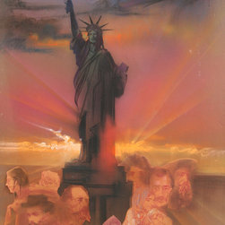 Yamagata, Statue of LIberty (color), Pencil and Pastel with Collage Painting - Artist:  Yamagata